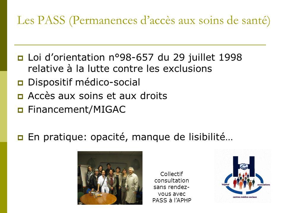 Les PASS (Permanences daccès aux soins de santé) Loi dorientation n°98-657 du 29 juillet 1998 relative à la lutte contre les exclusions Dispositif méd