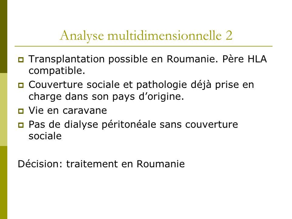 Analyse multidimensionnelle 2 Transplantation possible en Roumanie. Père HLA compatible. Couverture sociale et pathologie déjà prise en charge dans so