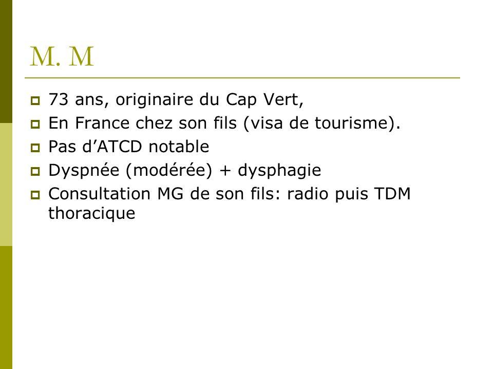 M. M 73 ans, originaire du Cap Vert, En France chez son fils (visa de tourisme). Pas dATCD notable Dyspnée (modérée) + dysphagie Consultation MG de so