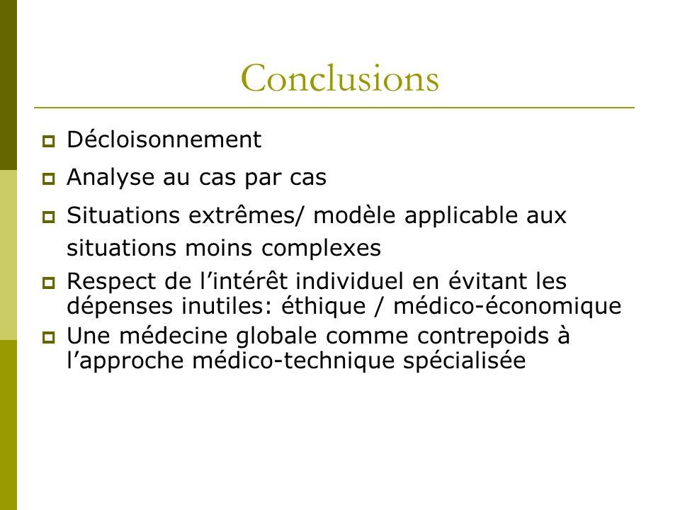 Conclusions Décloisonnement Analyse au cas par cas Situations extrêmes/ modèle applicable aux situations moins complexes Respect de lintérêt individue