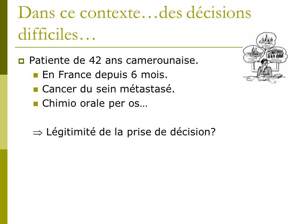 Dans ce contexte…des décisions difficiles… Patiente de 42 ans camerounaise. En France depuis 6 mois. Cancer du sein métastasé. Chimio orale per os… Lé