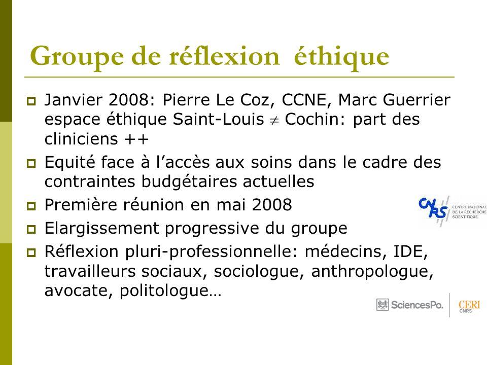 Groupe de réflexion éthique Janvier 2008: Pierre Le Coz, CCNE, Marc Guerrier espace éthique Saint-Louis Cochin: part des cliniciens ++ Equité face à l