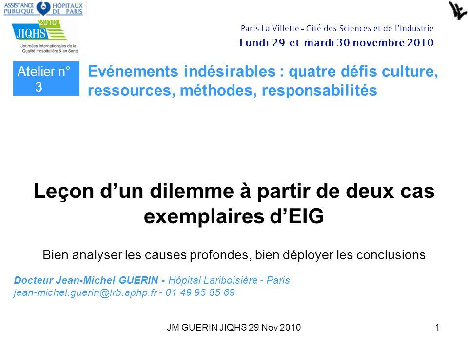 JM GUERIN JIQHS 29 Nov 20101 Docteur Jean-Michel GUERIN - Hôpital Lariboisière - Paris jean-michel.guerin@lrb.aphp.fr - 01 49 95 85 69 Leçon dun dilem