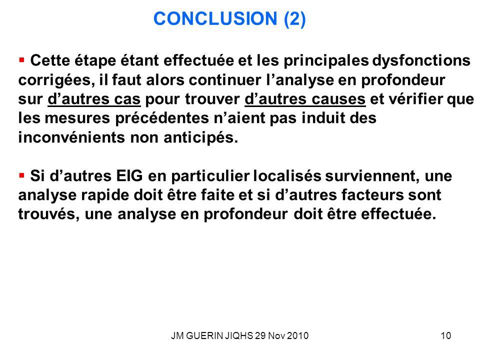 JM GUERIN JIQHS 29 Nov 201010 CONCLUSION (2) Cette étape étant effectuée et les principales dysfonctions corrigées, il faut alors continuer lanalyse e