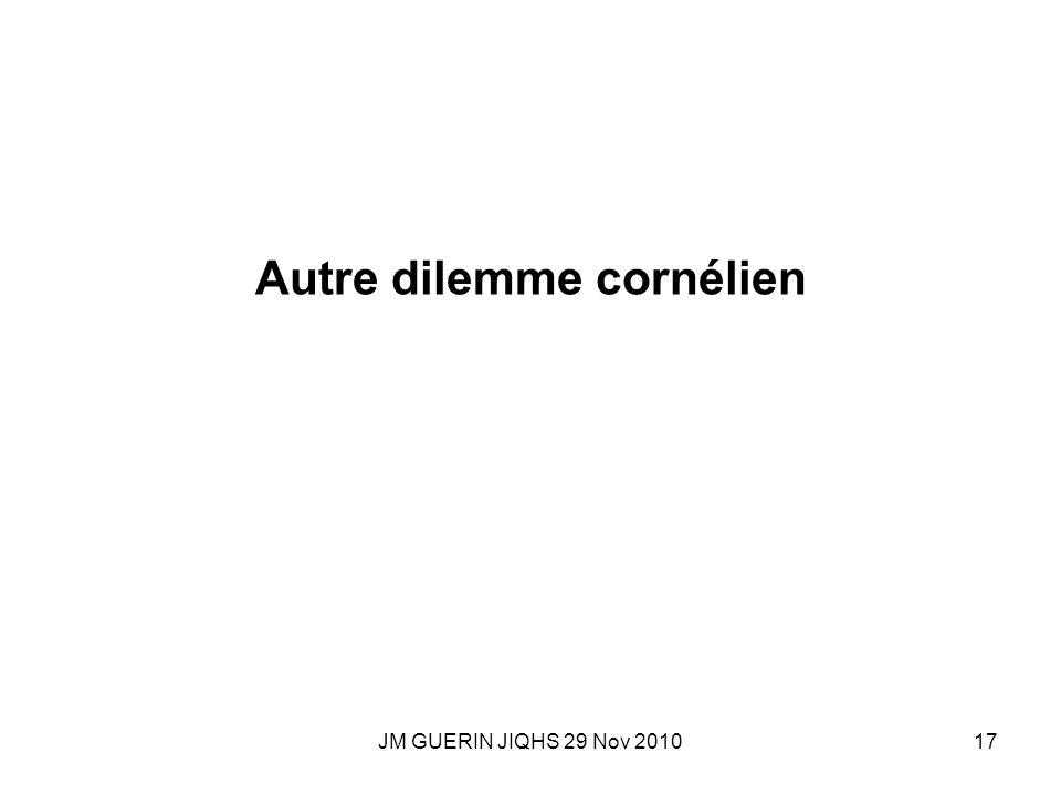 JM GUERIN JIQHS 29 Nov 201017 Autre dilemme cornélien