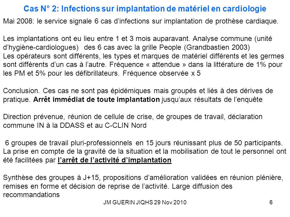 JM GUERIN JIQHS 29 Nov 20106 Cas N° 2: Infections sur implantation de matériel en cardiologie Mai 2008: le service signale 6 cas dinfections sur impla