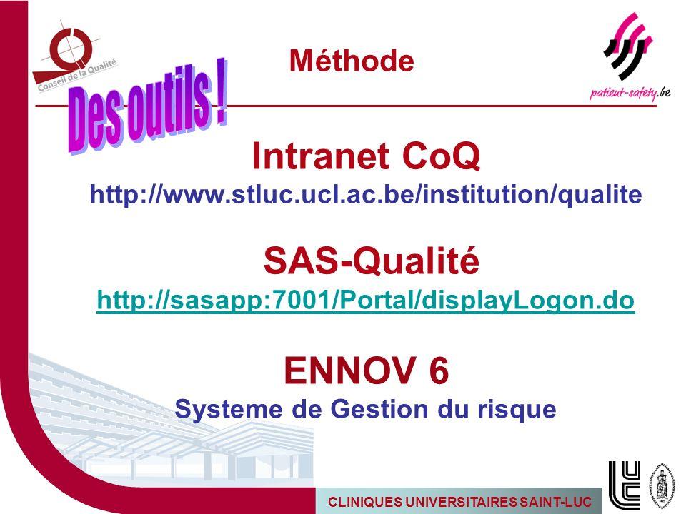 CLINIQUES UNIVERSITAIRES SAINT-LUC Méthode Intranet CoQ http://www.stluc.ucl.ac.be/institution/qualite SAS-Qualité http://sasapp:7001/Portal/displayLo