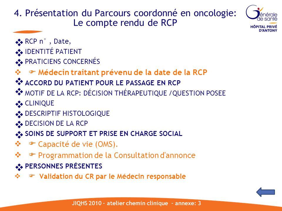 4. Présentation du Parcours coordonné en oncologie: Le compte rendu de RCP JIQHS 2010 - atelier chemin clinique - annexe: 3 RCP n°, Date, IDENTITÉ PAT