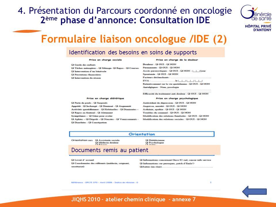 JIQHS 2010 - atelier chemin clinique - annexe 7 Formulaire liaison oncologue /IDE (2) 4. Présentation du Parcours coordonné en oncologie 2 ème phase d