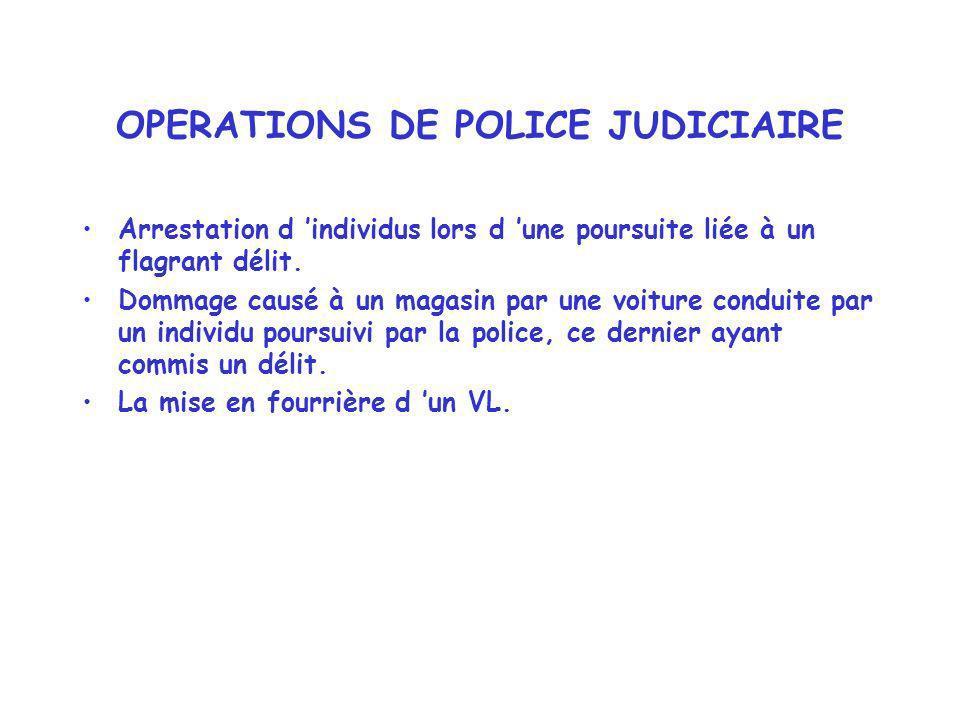 OPERATIONS DE POLICE JUDICIAIRE Arrestation d individus lors d une poursuite liée à un flagrant délit. Dommage causé à un magasin par une voiture cond
