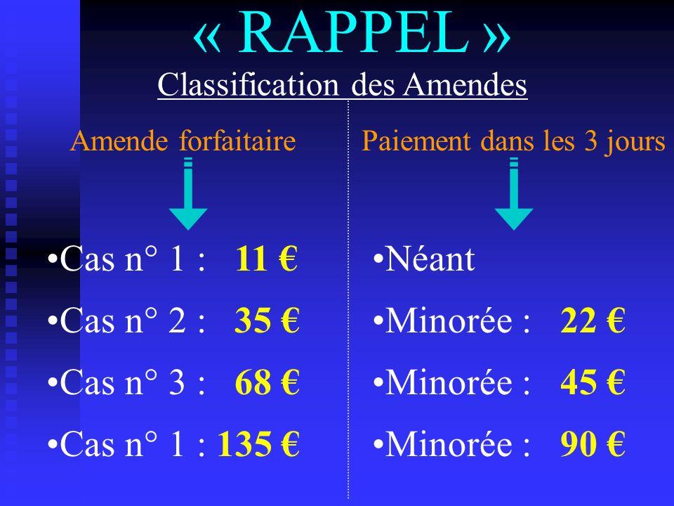 « RAPPEL » Classification des Amendes Cas n° 1 : 11 Cas n° 2 : 35 Cas n° 3 : 68 Cas n° 1 : 135 Minorée : 22 Minorée : 45 Minorée : 90 Néant Amende for