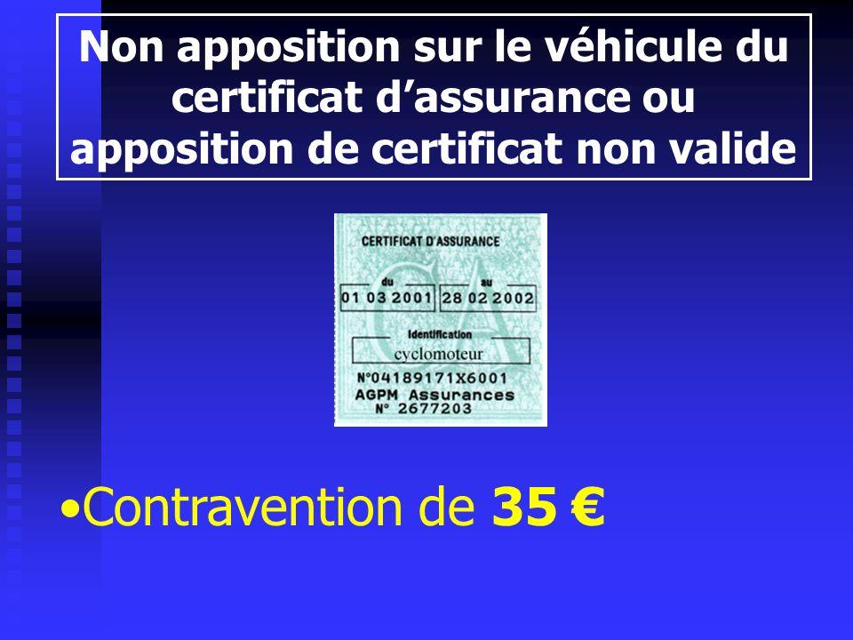 Non apposition sur le véhicule du certificat dassurance ou apposition de certificat non valide Contravention de 35