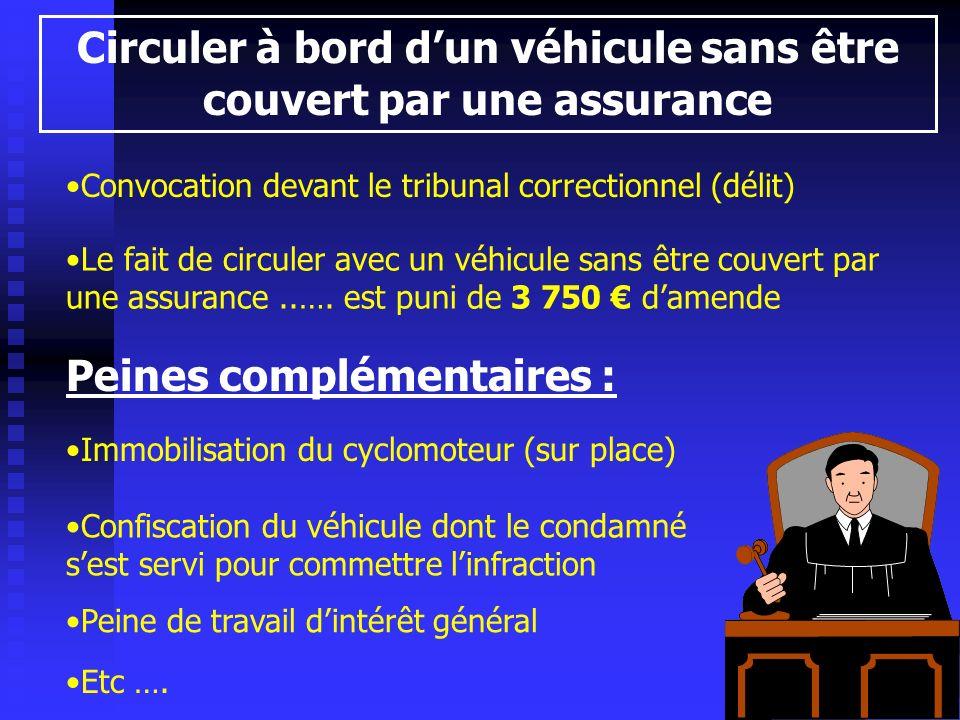 Circuler à bord dun véhicule sans être couvert par une assurance Convocation devant le tribunal correctionnel (délit) Peines complémentaires : Immobil