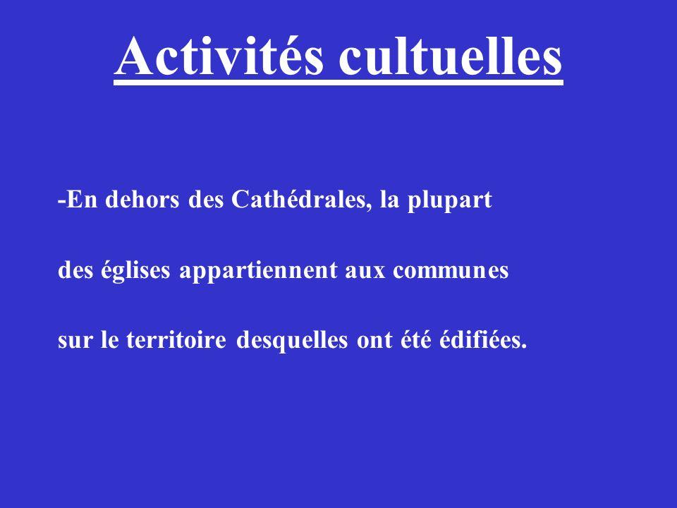 Activités cultuelles -En dehors des Cathédrales, la plupart des églises appartiennent aux communes sur le territoire desquelles ont été édifiées.