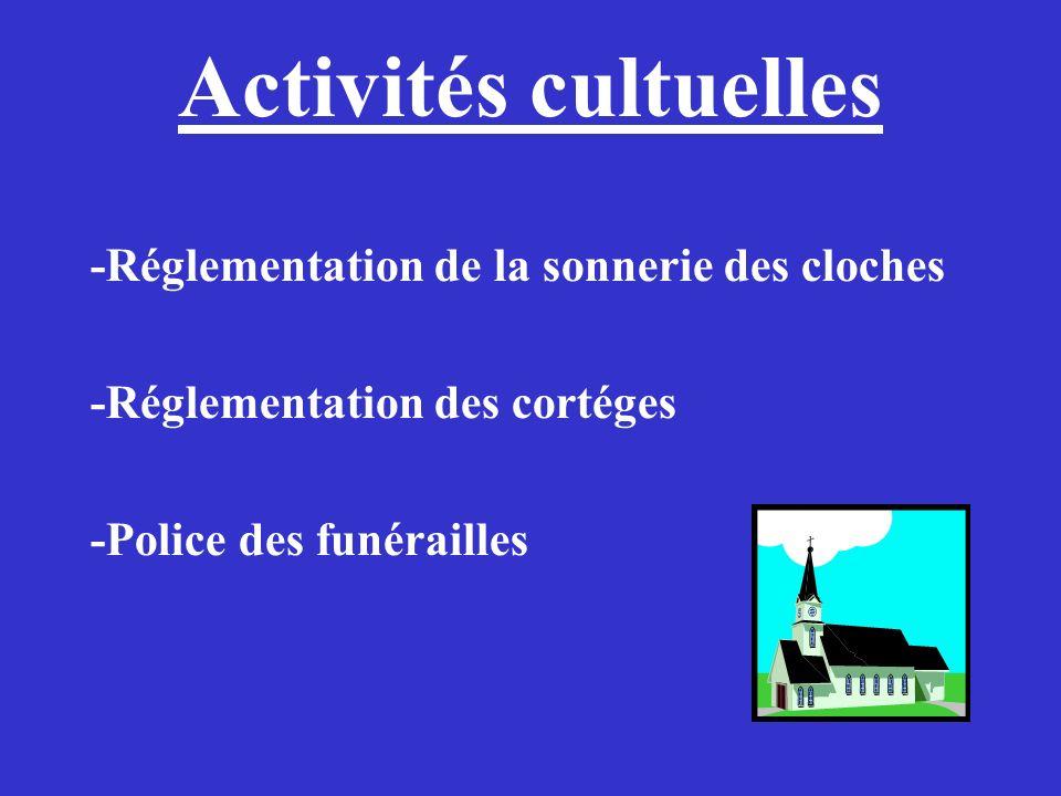 Activités cultuelles -Réglementation de la sonnerie des cloches -Réglementation des cortéges -Police des funérailles