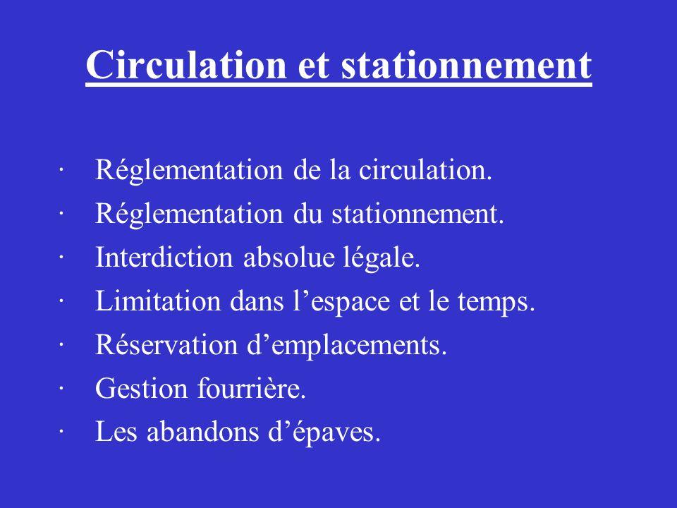 Circulation et stationnement · Réglementation de la circulation. · Réglementation du stationnement. · Interdiction absolue légale. · Limitation dans l