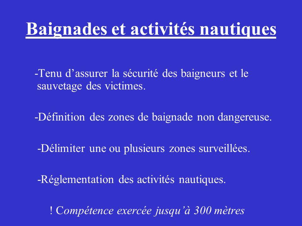 Baignades et activités nautiques -Tenu dassurer la sécurité des baigneurs et le sauvetage des victimes. -Définition des zones de baignade non dangereu