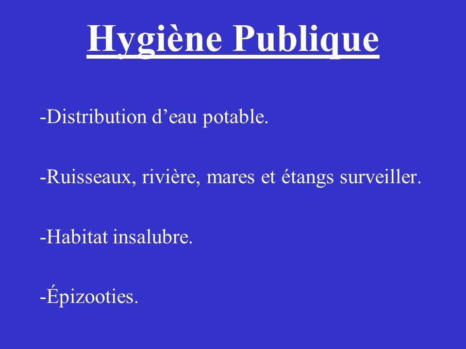 Hygiène Publique -Distribution deau potable. -Ruisseaux, rivière, mares et étangs surveiller. -Habitat insalubre. -Épizooties.