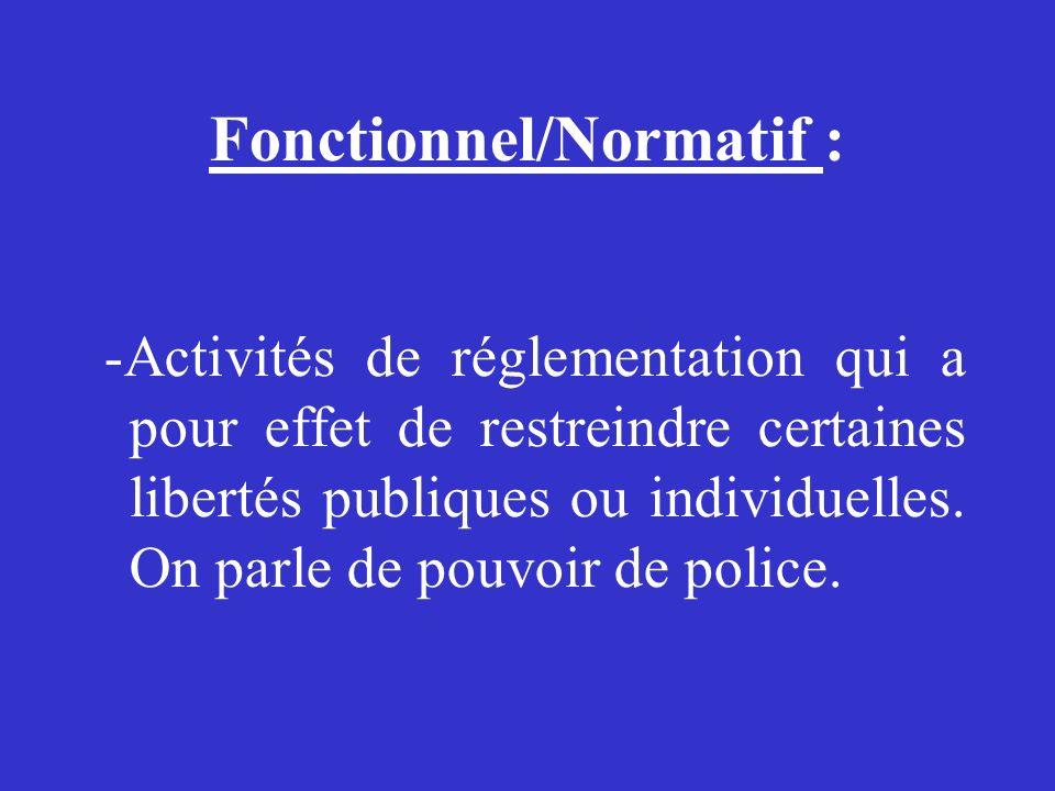 Fonctionnel/Normatif : -Activités de réglementation qui a pour effet de restreindre certaines libertés publiques ou individuelles. On parle de pouvoir