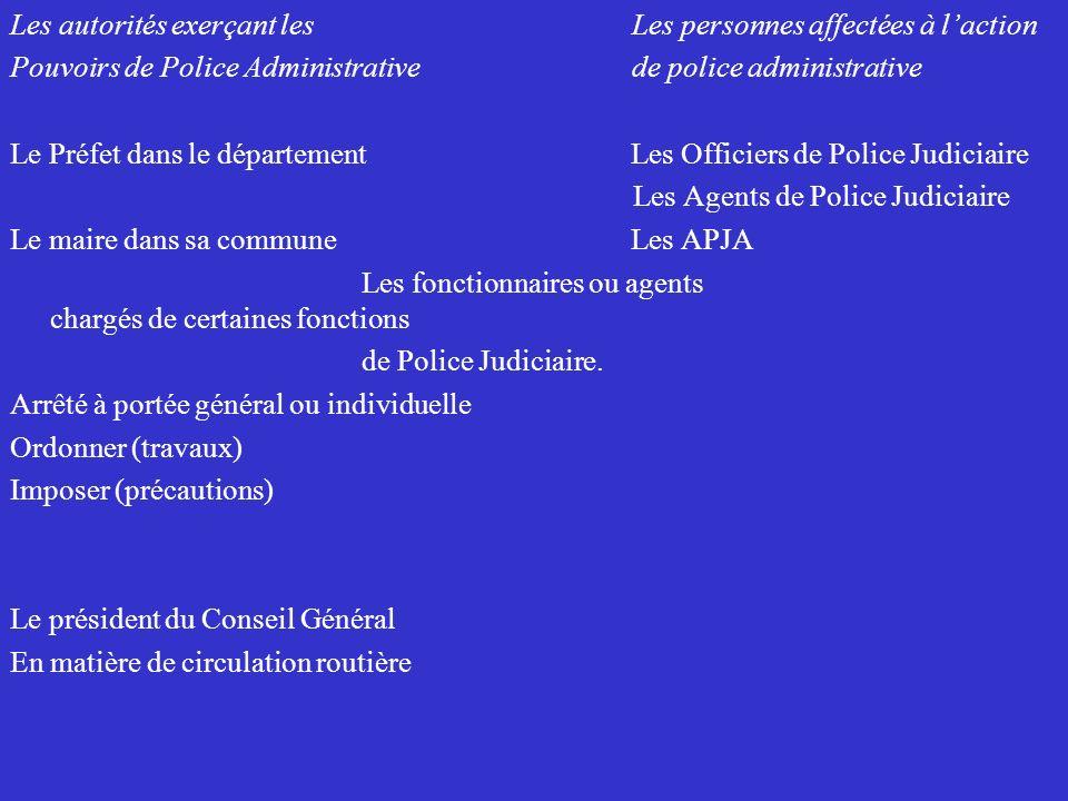 Les autorités exerçant les Les personnes affectées à laction Pouvoirs de Police Administrative de police administrative Le Préfet dans le département