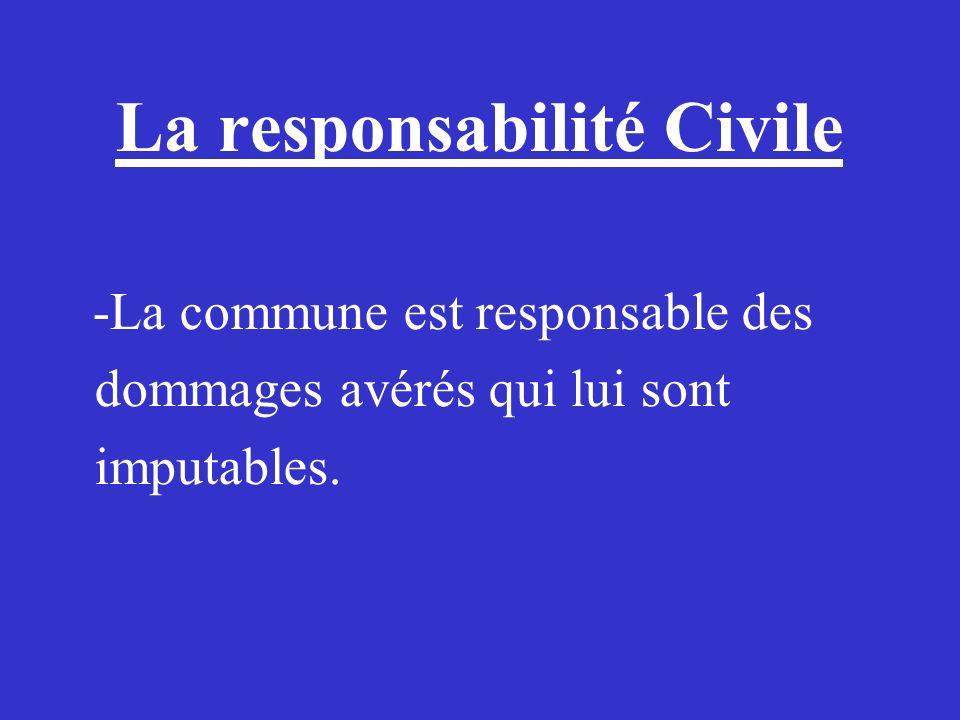 La responsabilité Civile -La commune est responsable des dommages avérés qui lui sont imputables.