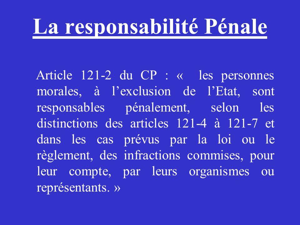 La responsabilité Pénale Article 121-2 du CP : « les personnes morales, à lexclusion de lEtat, sont responsables pénalement, selon les distinctions de