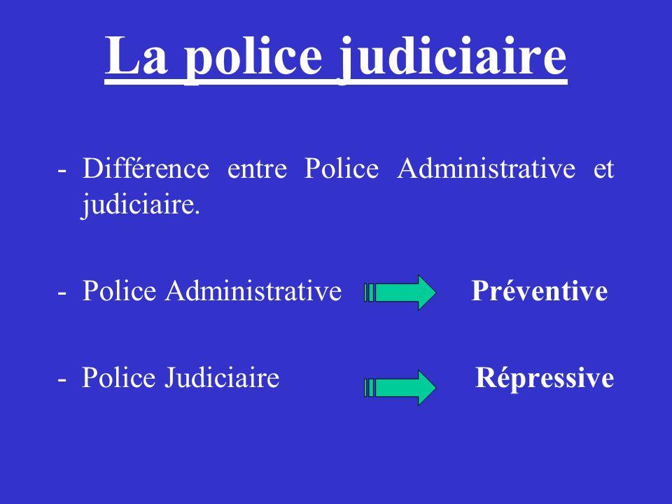 La police judiciaire -Différence entre Police Administrative et judiciaire. -Police Administrative Préventive - Police Judiciaire Répressive