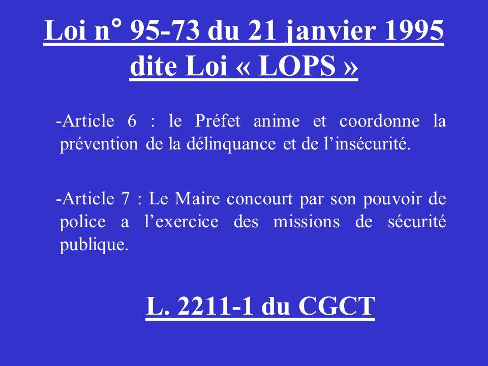 Loi n° 95-73 du 21 janvier 1995 dite Loi « LOPS » -Article 6 : le Préfet anime et coordonne la prévention de la délinquance et de linsécurité. -Articl