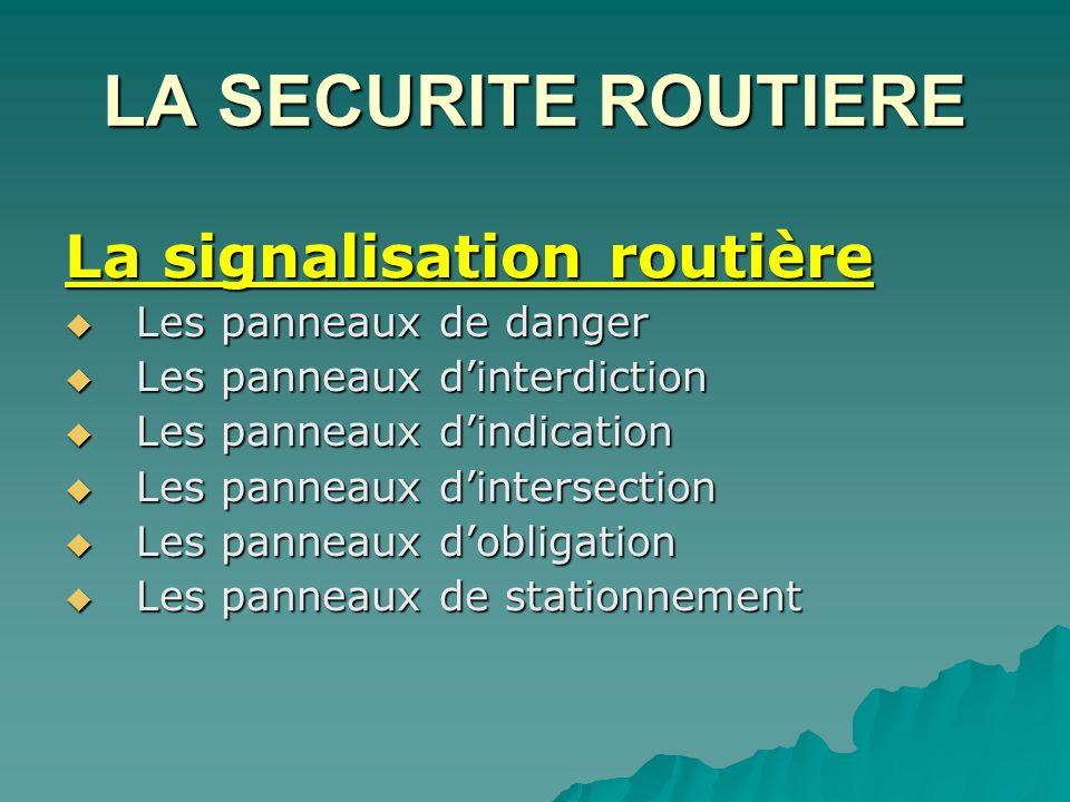 LA SECURITE ROUTIERE La signalisation routière Les panneaux de danger Les panneaux dinterdiction Les panneaux dindication Les panneaux dintersection L