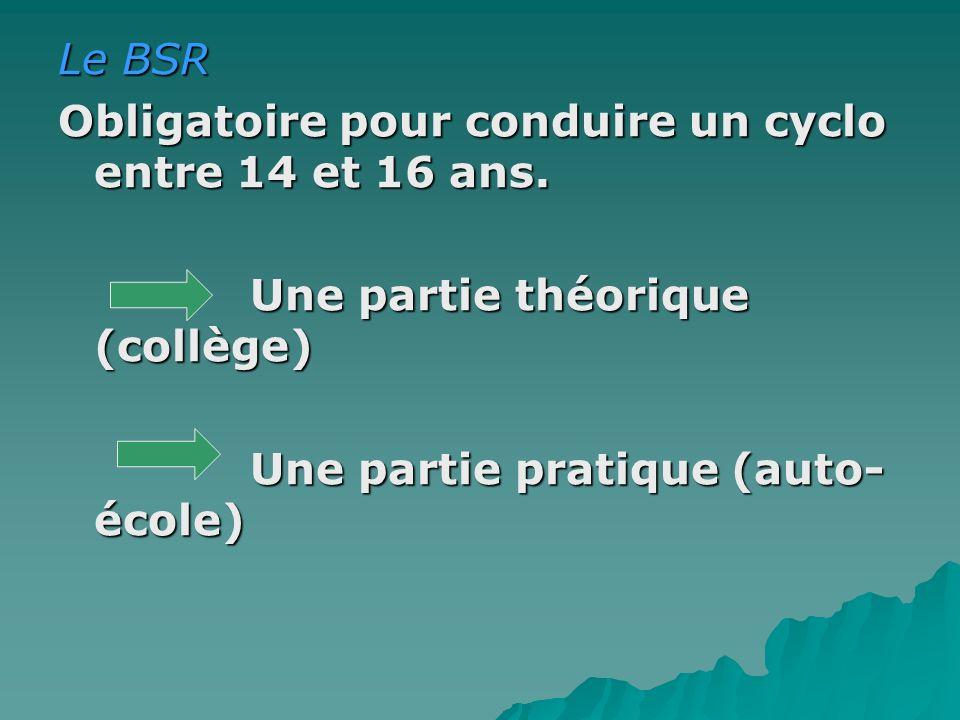 Le BSR Obligatoire pour conduire un cyclo entre 14 et 16 ans. Une partie théorique (collège) Une partie pratique (auto- école)