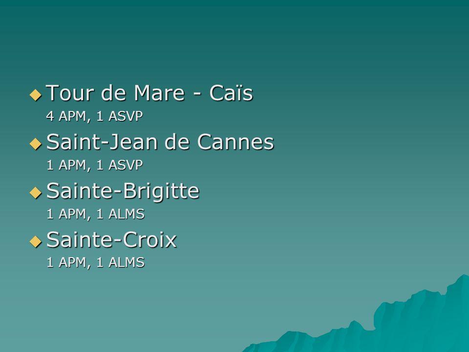 Tour de Mare - Caïs 4 APM, 1 ASVP Saint-Jean de Cannes 1 APM, 1 ASVP Sainte-Brigitte 1 APM, 1 ALMS Sainte-Croix 1 APM, 1 ALMS
