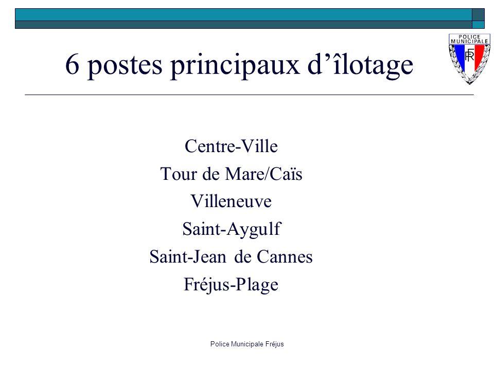 Police Municipale Fréjus Centre-Ville Tour de Mare/Caïs Villeneuve Saint-Aygulf Saint-Jean de Cannes Fréjus-Plage 6 postes principaux dîlotage