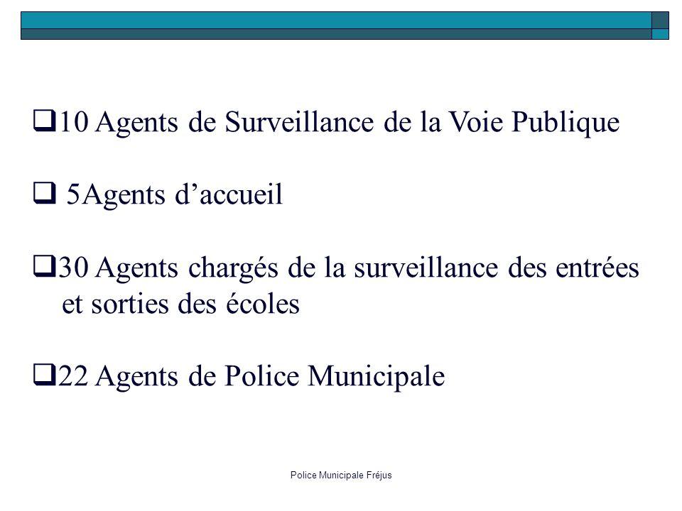 Police Municipale Fréjus 1 0 Agents de Surveillance de la Voie Publique 5 Agents daccueil 3 0 Agents chargés de la surveillance des entrées et sorties