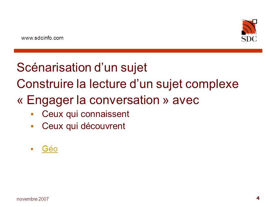 www.sdcinfo.com 4 novembre 2007 Scénarisation dun sujet Construire la lecture dun sujet complexe « Engager la conversation » avec Ceux qui connaissent Ceux qui découvrent Géo