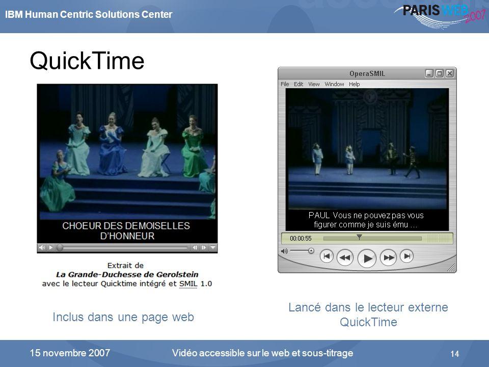 IBM Human Centric Solutions Center Vidéo accessible sur le web et sous-titrage 14 15 novembre 2007 QuickTime Inclus dans une page web Lancé dans le le