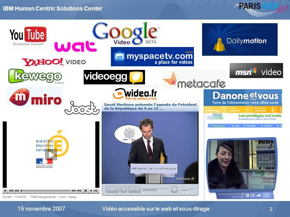 IBM Human Centric Solutions Center Vidéo accessible sur le web et sous-titrage 2 15 novembre 2007 Explosion de la vidéo sur Internet dans tous les sec