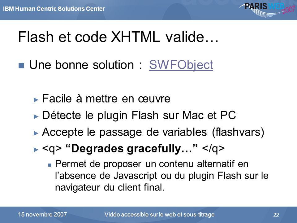IBM Human Centric Solutions Center Vidéo accessible sur le web et sous-titrage 22 15 novembre 2007 Flash et code XHTML valide… Une bonne solution : SW