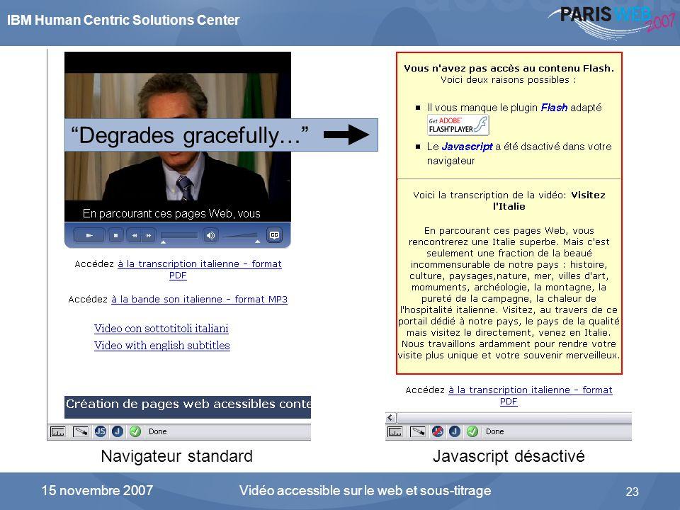 IBM Human Centric Solutions Center Vidéo accessible sur le web et sous-titrage 23 15 novembre 2007 Flash avec SWFObject en mode dégradé Navigateur sta