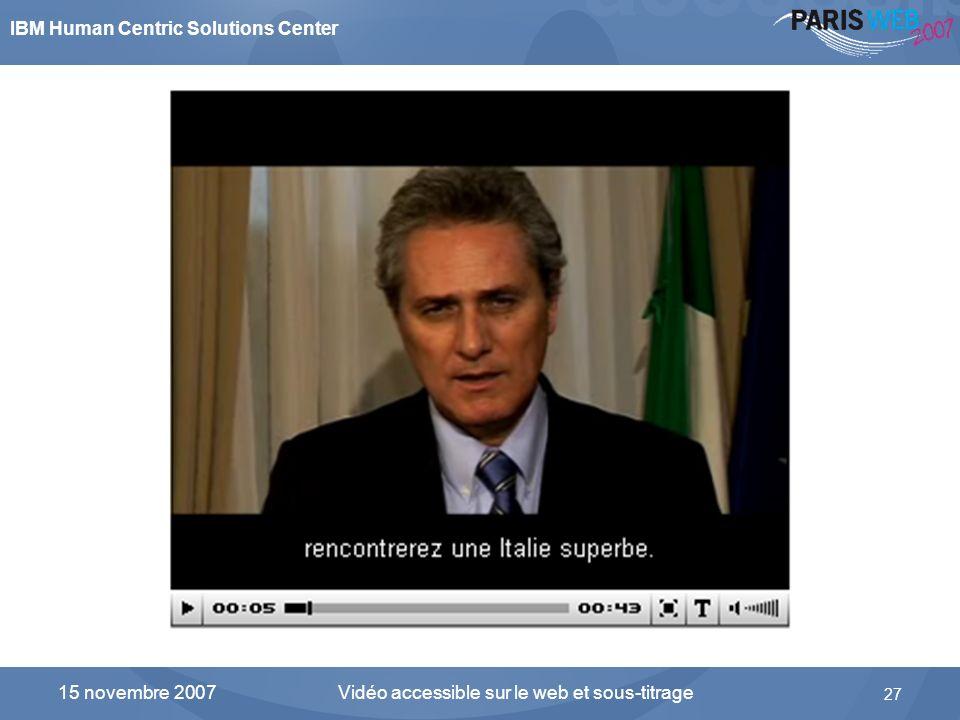 IBM Human Centric Solutions Center Vidéo accessible sur le web et sous-titrage 27 15 novembre 2007 Linterface du composant FLV Player