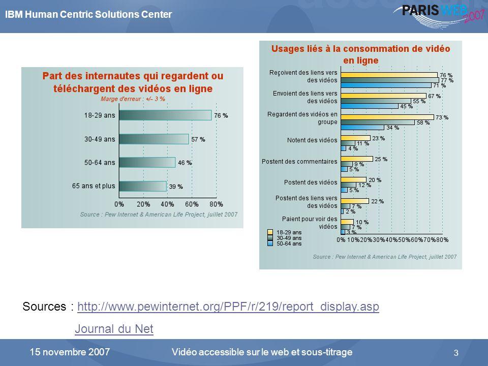 IBM Human Centric Solutions Center Vidéo accessible sur le web et sous-titrage 3 15 novembre 2007 Les internautes consomment et produisent de plus en