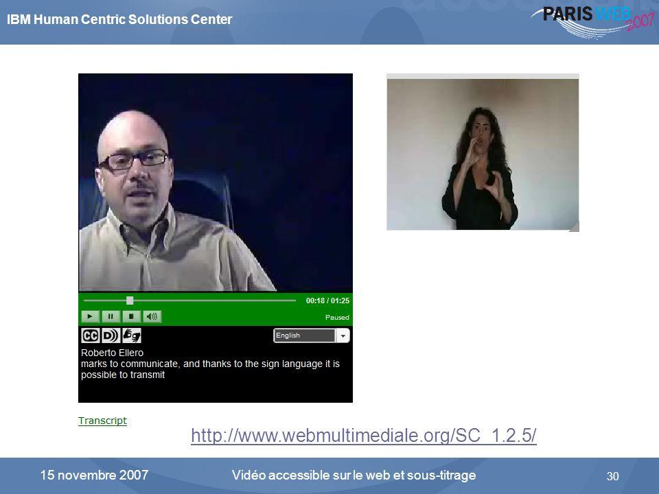 IBM Human Centric Solutions Center Vidéo accessible sur le web et sous-titrage 30 15 novembre 2007 Linterface du lecteur développé par Alessio Cartucc