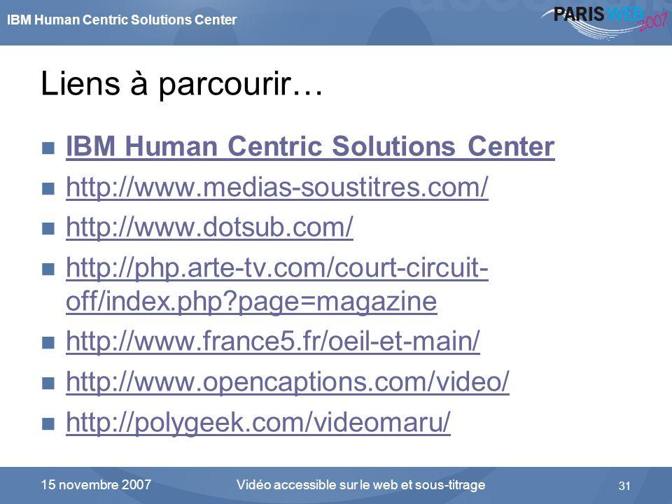 IBM Human Centric Solutions Center Vidéo accessible sur le web et sous-titrage 31 15 novembre 2007 Liens à parcourir… IBM Human Centric Solutions Cent