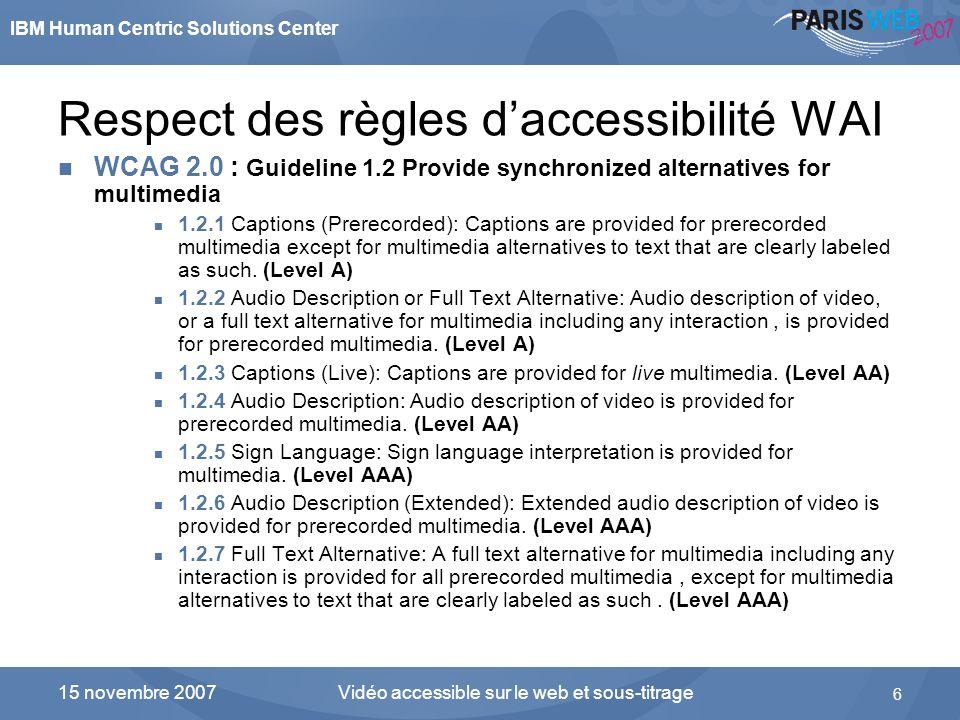 IBM Human Centric Solutions Center Vidéo accessible sur le web et sous-titrage 6 15 novembre 2007 Respect des règles daccessibilité WAI WCAG 2.0 : Gui