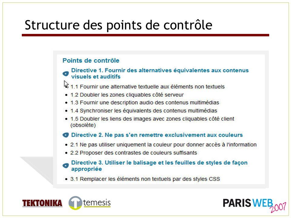 Structure des points de contrôle