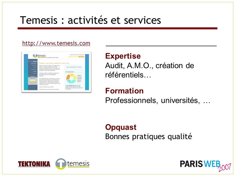 http://www.temesis.com Formation Professionnels, universités, … Expertise Audit, A.M.O., création de référentiels… Opquast Bonnes pratiques qualité Temesis : activités et services