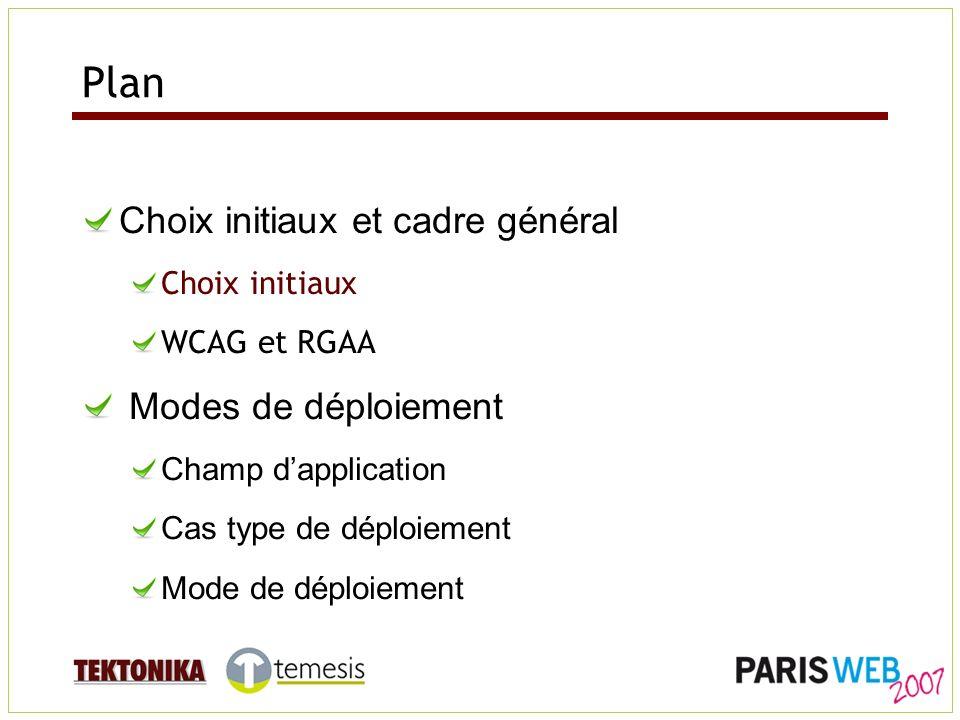 Choix initiaux Compatibilité maximum : WCAG 1.0 et 2.0, UWEM, Référentiel 2004 (ADAE - Accessiweb) Approche progressive : Un objectif majeur : lappropriation.