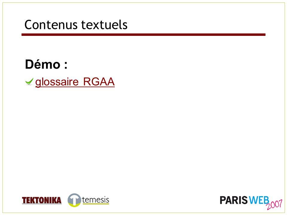 Contenus textuels Démo : glossaire RGAA