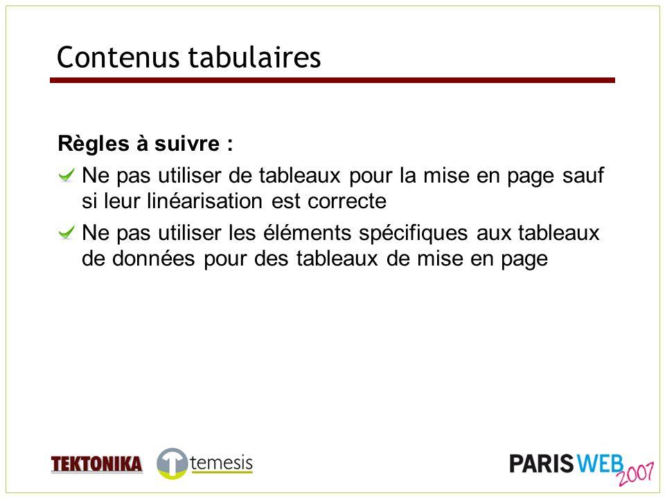 Contenus tabulaires Règles à suivre : Ne pas utiliser de tableaux pour la mise en page sauf si leur linéarisation est correcte Ne pas utiliser les éléments spécifiques aux tableaux de données pour des tableaux de mise en page