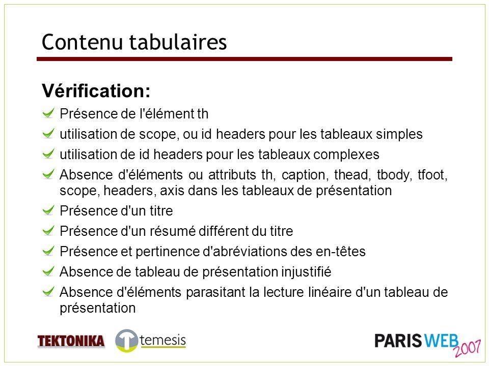 Contenu tabulaires Vérification: Présence de l'élément th utilisation de scope, ou id headers pour les tableaux simples utilisation de id headers pour