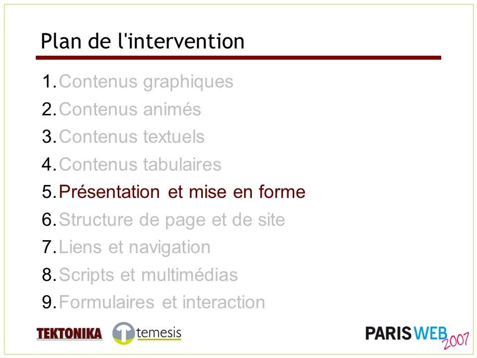 Plan de l'intervention 1.Contenus graphiques 2.Contenus animés 3.Contenus textuels 4.Contenus tabulaires 5.Présentation et mise en forme 6.Structure d